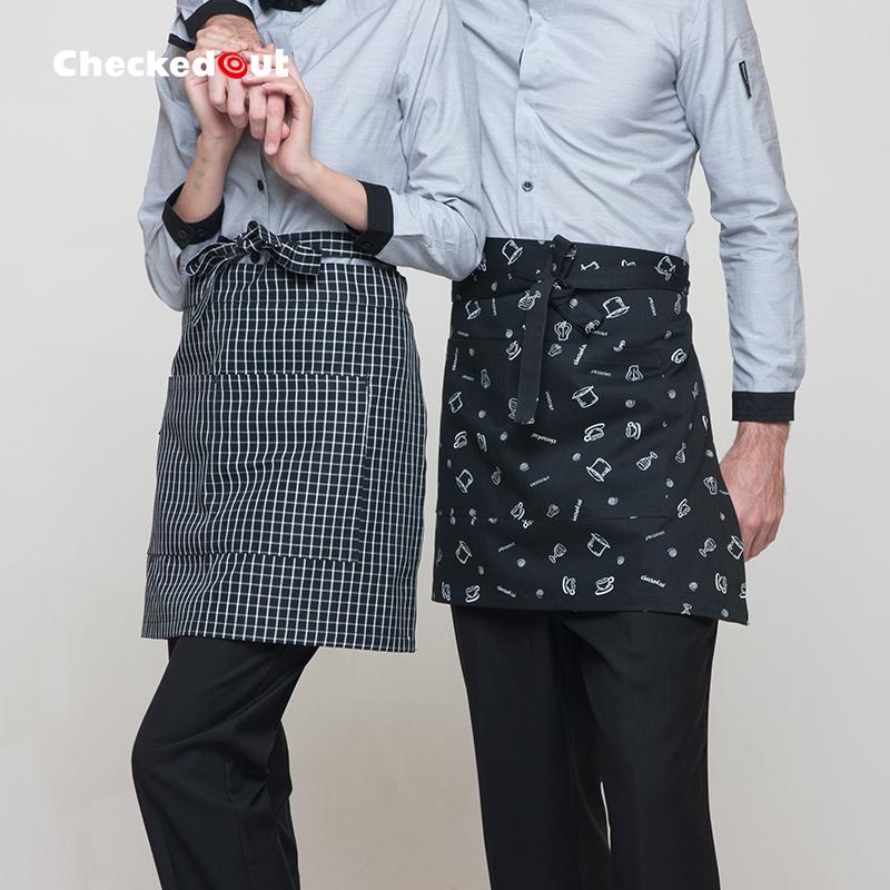 韩版时尚围裙长款围腰男女工作服围裙咖啡厅厨房家居厨师半身围裙