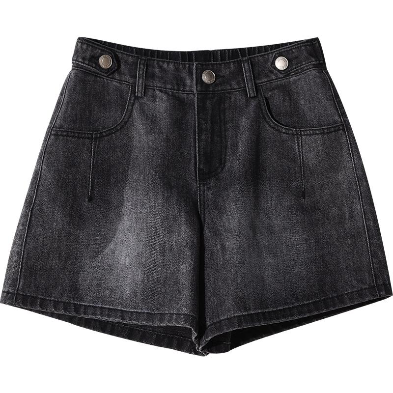 娅丽达黑色牛仔裤短裤女2020夏季高腰宽松白色休闲三分阔腿裤薄款