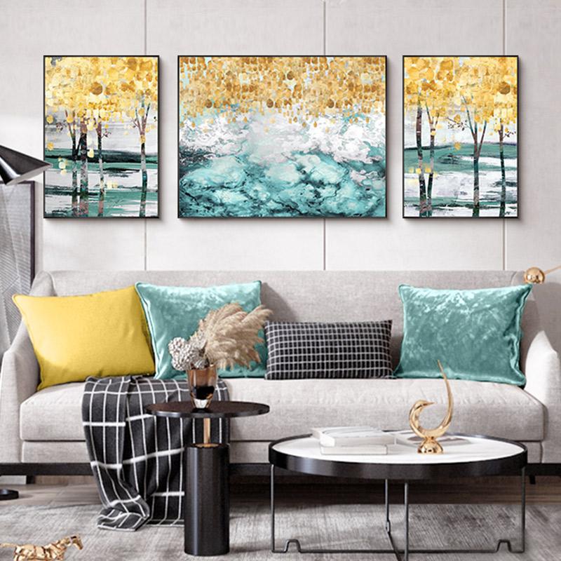 客廳裝飾畫現代簡約手繪油畫臥室過道三聯風景玄關沙發背景墻掛畫