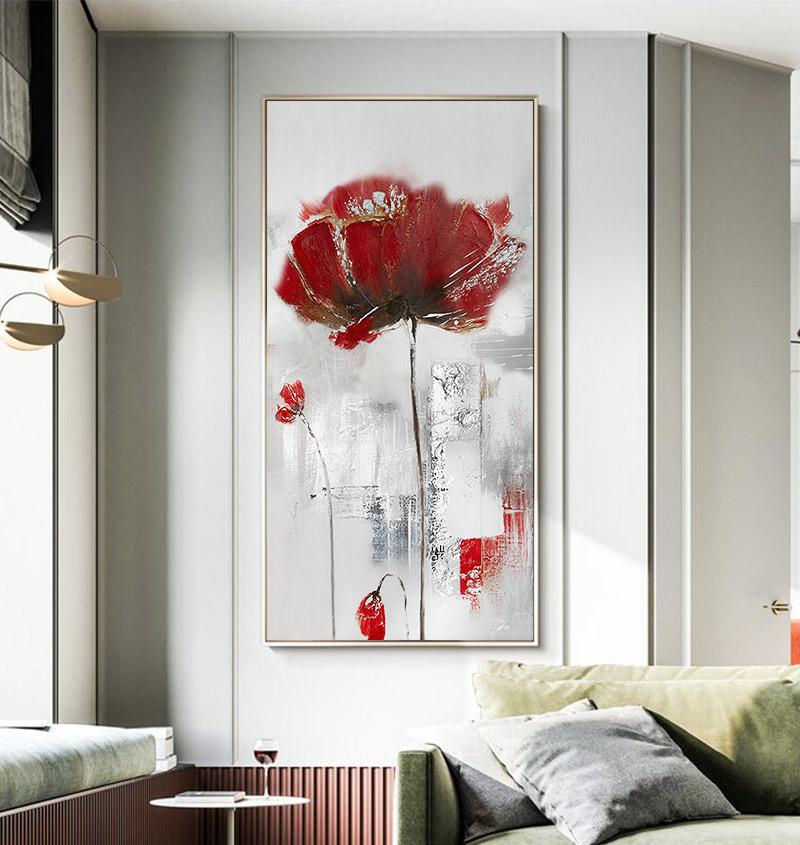 手绘油画竖版玄关墙面挂画古典装饰画简美风别墅客厅沙发背景墙画