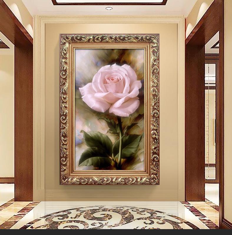 粉玫瑰花卉噴繪有框油畫客廳裝飾畫歐式玄關壁畫臥室床頭掛畫