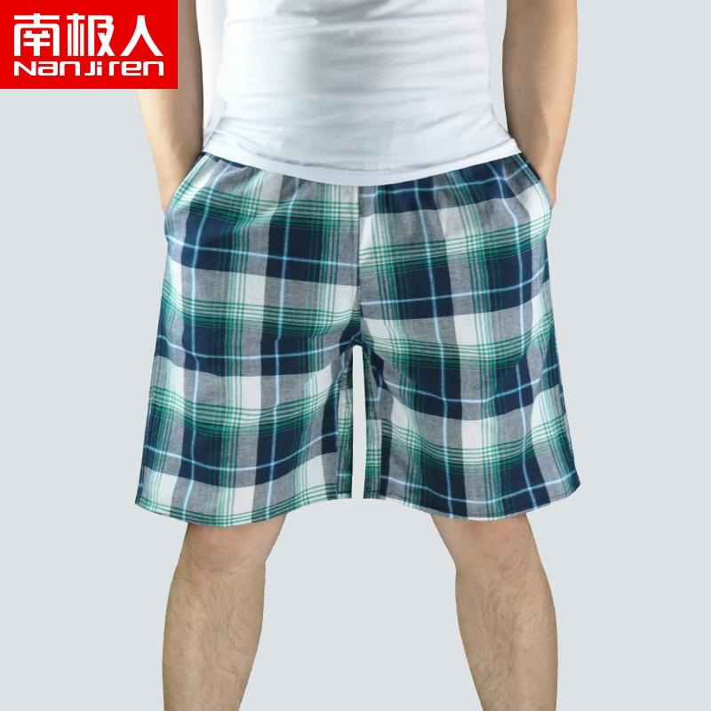 南极人格子全棉男睡裤短裤夏季纯棉家居五分裤居家裤子宽松沙滩裤