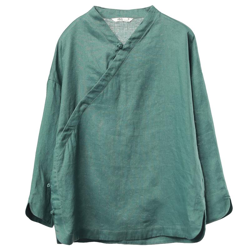 棉叙2018春夏新品中式纯亚麻衬衣九分袖汉服衬衫女复古上衣M8613