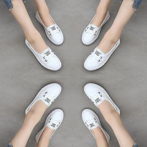 高蒂女鞋2019夏季新款浅口平底小白鞋女百搭基础孕妇真皮休闲鞋子