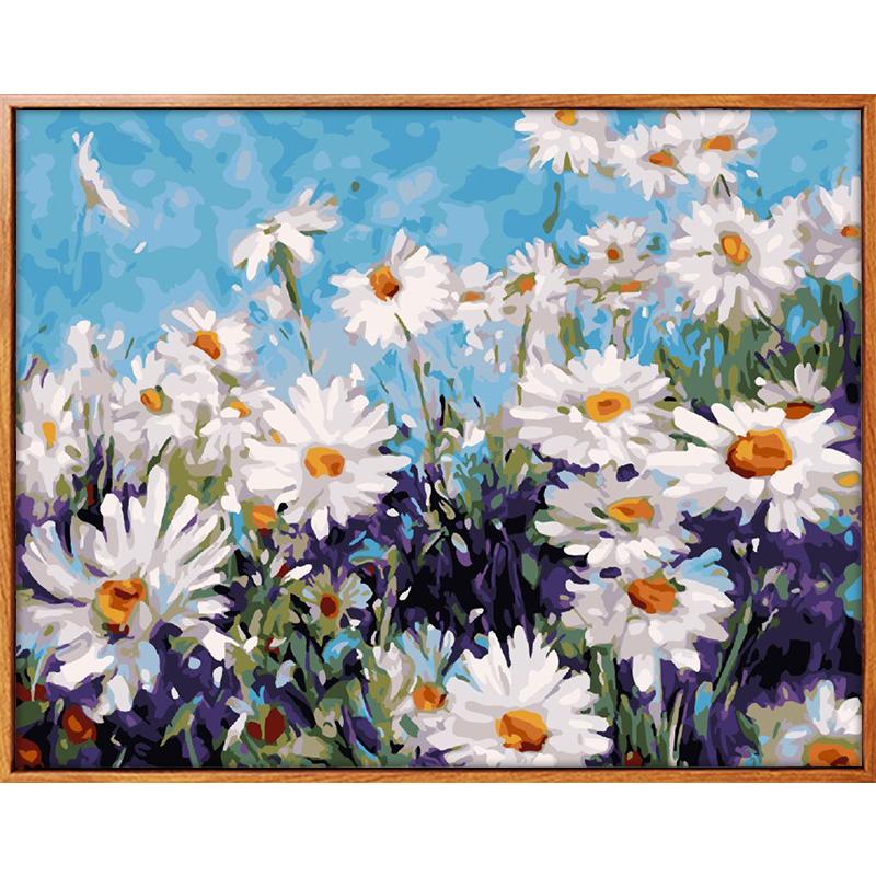 佳彩天顏 diy數字油彩畫手繪填色花卉菊花裝飾畫手工數碼雛菊油畫