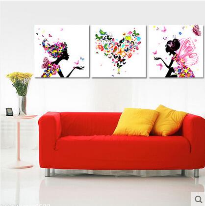 佳彩天颜 北欧diy数字油画客厅花卉大幅填色绘油彩装饰画三联三拼