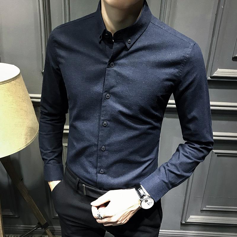 秋装韩版修身长袖衬衫男士帅气上衣灰色衬衣男休闲潮流商务男装寸
