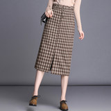 Plaid woolen skirt high-waist A-line winter mid-length wool gingham long skirt autumn and winter package hip female skirt