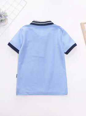 同款校服 中小学夏季英伦学院浅蓝网眼藏青白色条纹短袖T恤