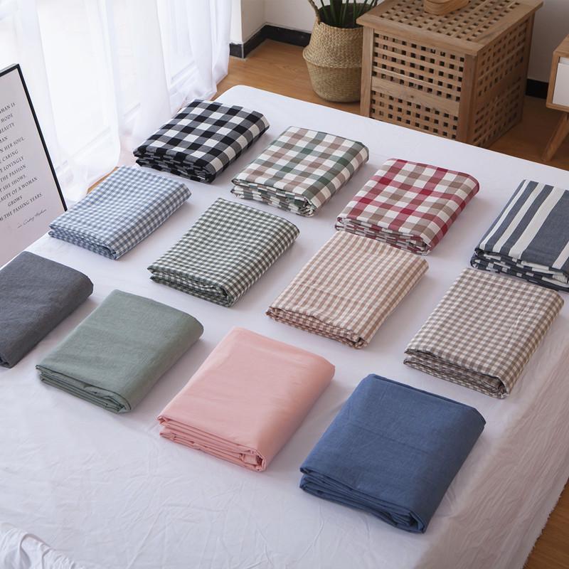 床單日式簡約格子被單女 1.8m 良品水洗棉床單單件純棉床笠單人雙人