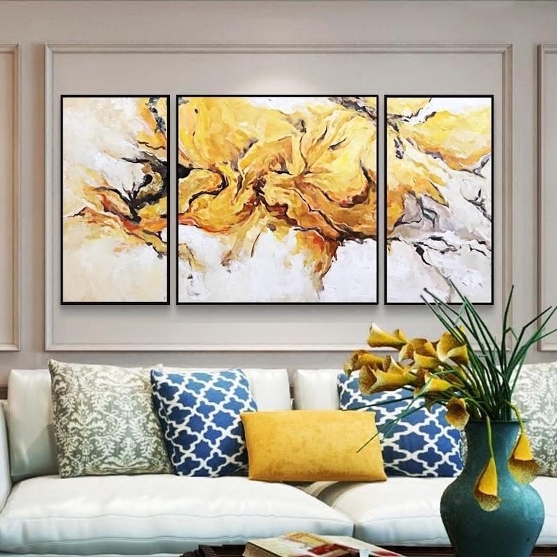 原創純手繪抽象黃色流彩奔油畫客廳沙發背景墻面大尺寸三聯原創畫