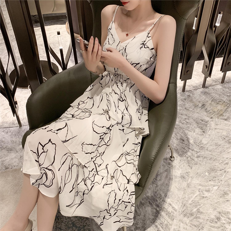 春季2019新款韩版中长款印花闺蜜吊带雪纺连衣裙女chic显瘦蛋糕裙