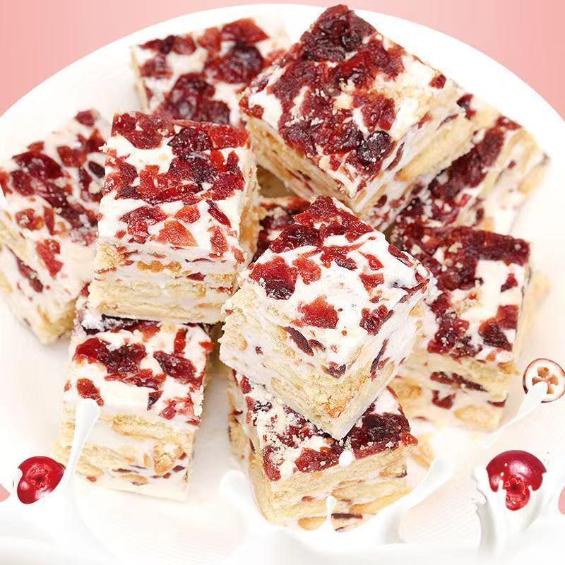 雪花酥蔓越莓抹茶味网红零食小吃休闲食品饼干糕点心牛轧奶芙糖果
