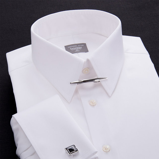 Baler Bayer French long-sleeved male shirt evening dress British retro gentleman slim white neck holder long sharp collar