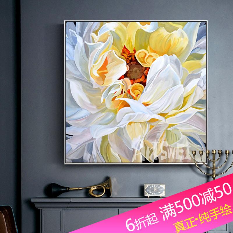 歐式手繪油畫玄關裝飾畫沙發背景墻掛畫現代輕奢牡丹花卉餐廳壁畫