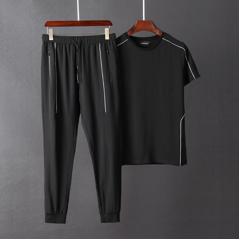 运动套装男 2019夏季新款高端冰丝速干丝滑男士短袖休闲两件套