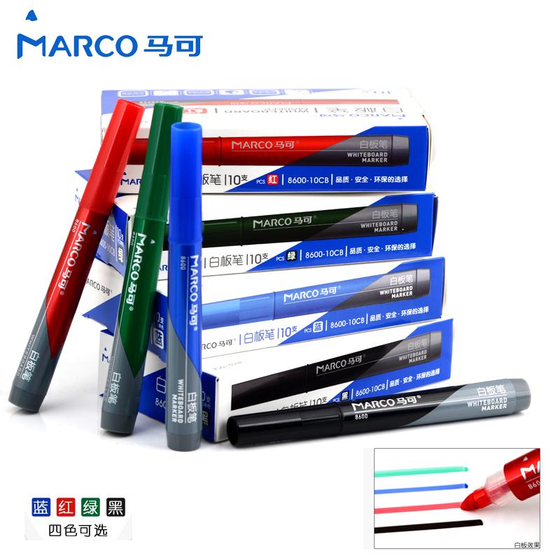 马可白板笔 办公教学可擦笔 中粗儿童画板笔 黑蓝红绿色 十支包邮