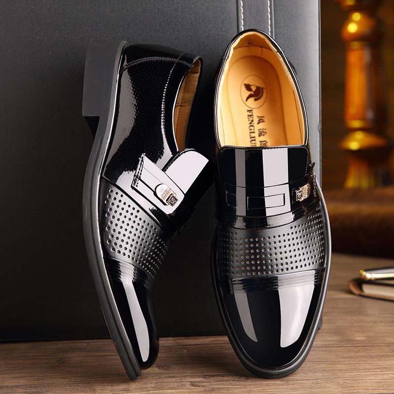 男士皮鞋真皮透气正装皮鞋男真皮凉皮鞋男镂空商务皮鞋韩版男婚鞋