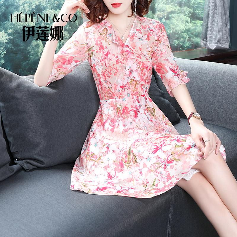 伊莲娜2019夏季新款品牌真丝连衣裙桑蚕丝印花显瘦中袖裙子女减龄