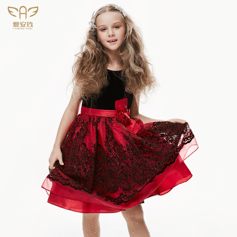 愛安玖春季黑紅絲絨女童禮服公主裙蓬蓬裙生日禮服鋼琴演出晚禮服