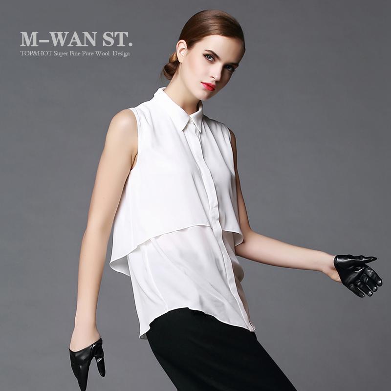 梅湾街雪纺白衬衫洋气女装无袖大码双层衬衫通勤OL中长款百搭衬衣