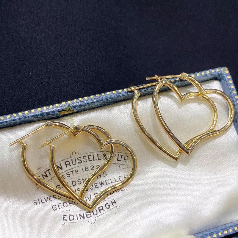 俊皇珠宝 意大利18K金耳圈 明星同款爱心耳环进口工艺素