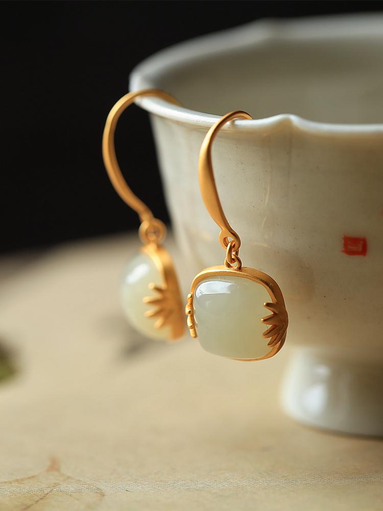 小银匠纯银古法金镶和田玉轻奢高级感耳环女复古气质耳坠耳钉耳饰