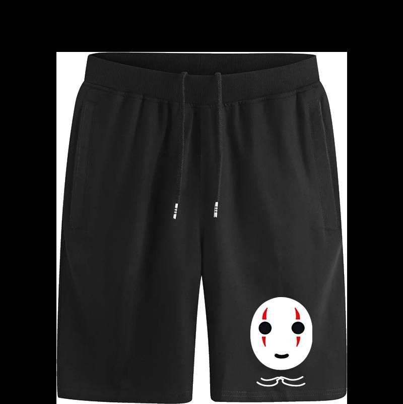 宫崎骏日系动漫千与千寻无脸男纯棉时尚短裤个性宽松潮无颜五分裤