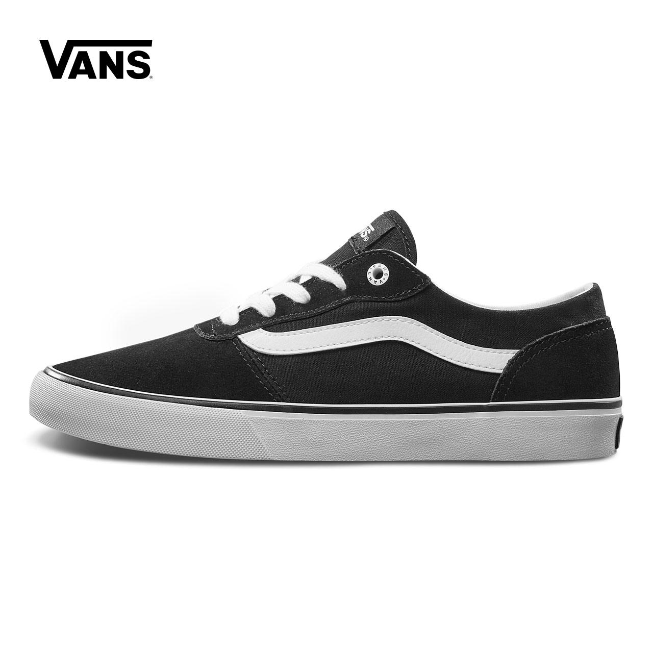 Vans範斯官方正品 黑色側邊條紋低幫女士運動休閒鞋