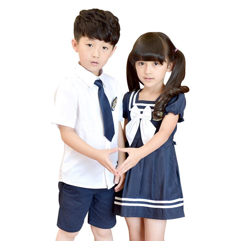 女童水手服连衣裙校服儿童装夏季儿童节小学生班服套装幼儿园园服