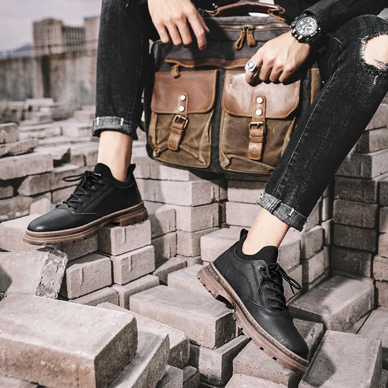 秋季休闲皮鞋百搭防水工装冬季英伦复古潮流韩版马丁靴男短靴冬鞋