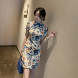 2020 summer new fashion slim slimming improved girl mid-length split cheongsam young dress