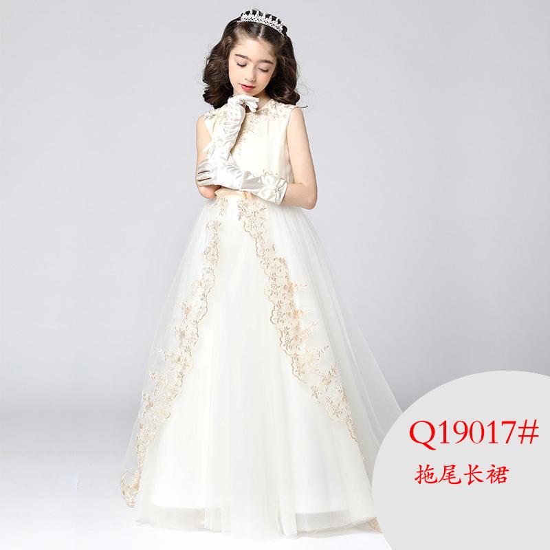 公主裙女童礼服蓬蓬纱花童主持人钢琴演出服夏中大儿童婚纱连衣裙