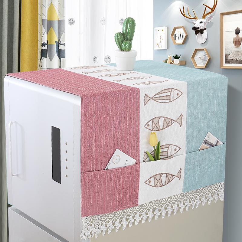 家用冰箱盖巾简约北欧冰箱顶部防尘罩盖布ins小鹿冰箱收纳袋