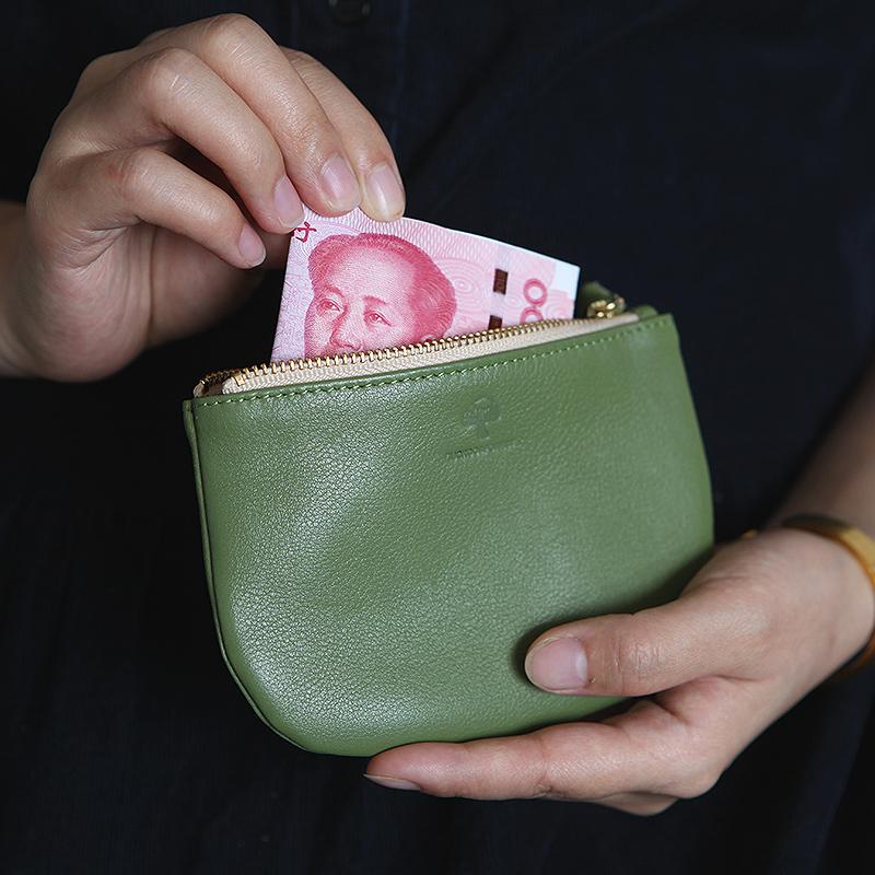 女式真皮零钱包牛皮拉链短款小钱包文艺长款手包零钱袋手机硬币软