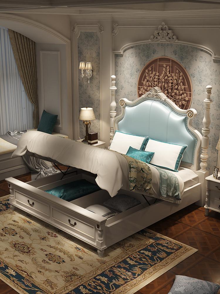 主臥簡約輕奢床簡歐奢華實木婚床 米公主床歐式雙人床 1.8 美式床