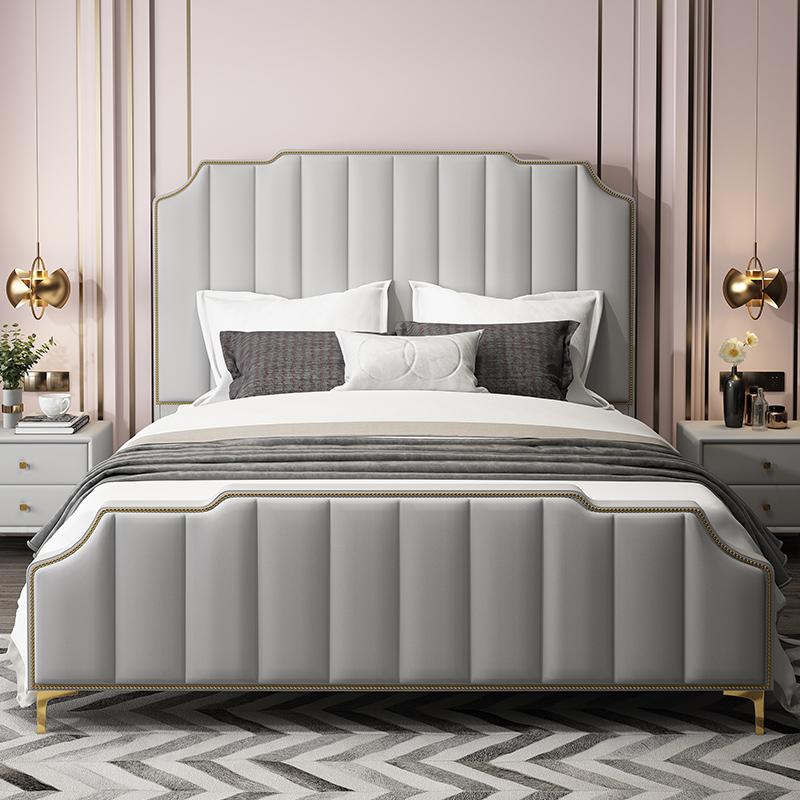 米北歐簡約真皮婚床 1.8 網紅床分手吵架主臥 ins 現代輕奢床美式