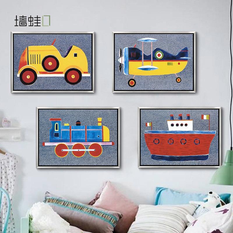 牆蛙正版飛機總動員多聯兒童房裝飾畫美式卡通掛畫有框畫客廳牆畫