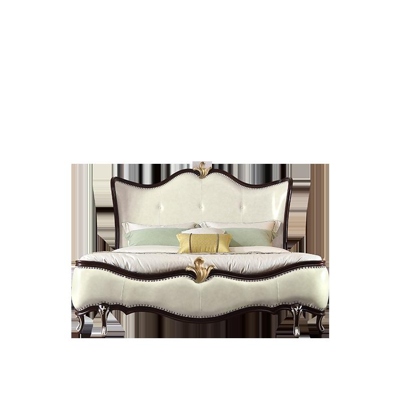 卫诗理法式真皮实木床欧式主卧布艺双人床1.8米简美轻奢公主床T5