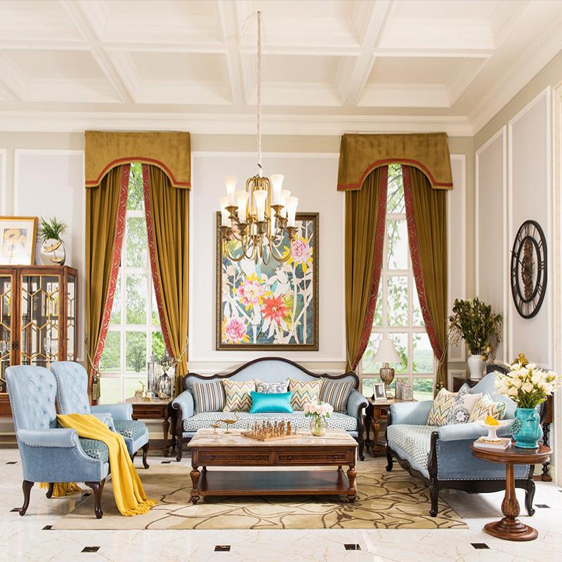 卫诗理美式真皮布艺沙发欧式简约客厅茶几角几实木沙发123组合H3
