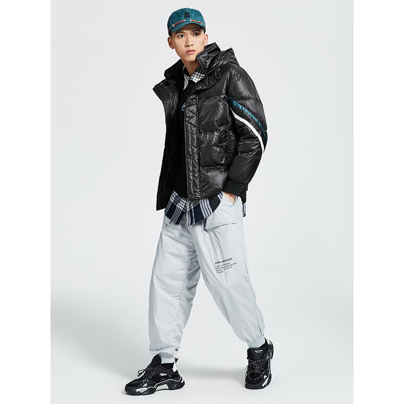 艾莱依 秋冬新款时尚男士羽绒服短款条纹撞色加厚白鸭绒外套潮  2020