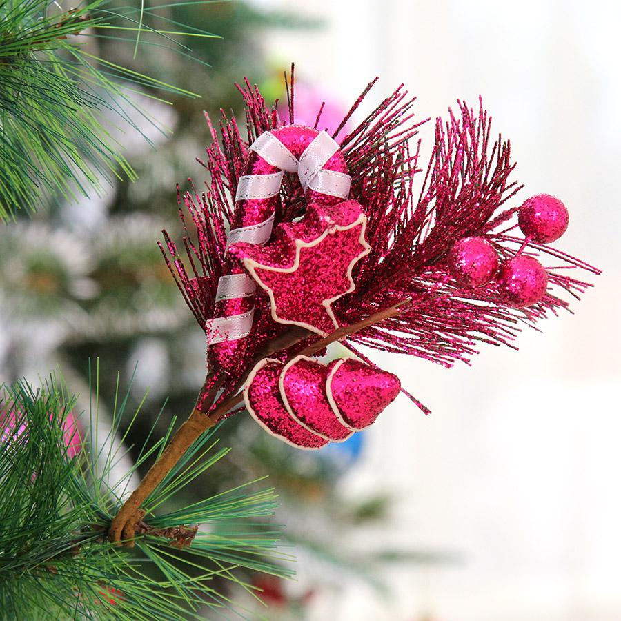 叕港恒圣诞节装饰用品25cm五角星糖果插枝花圣诞装饰挂件多色 20g