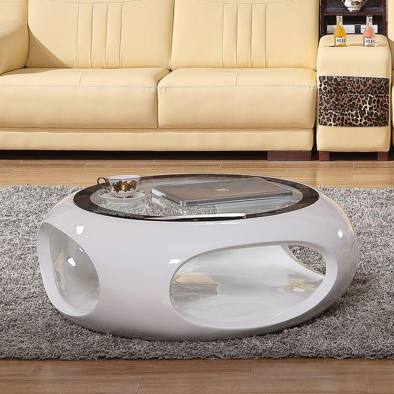 簡約鋼化玻璃茶几圓形小茶桌現代創意個性客廳北歐電視櫃組合傢俱