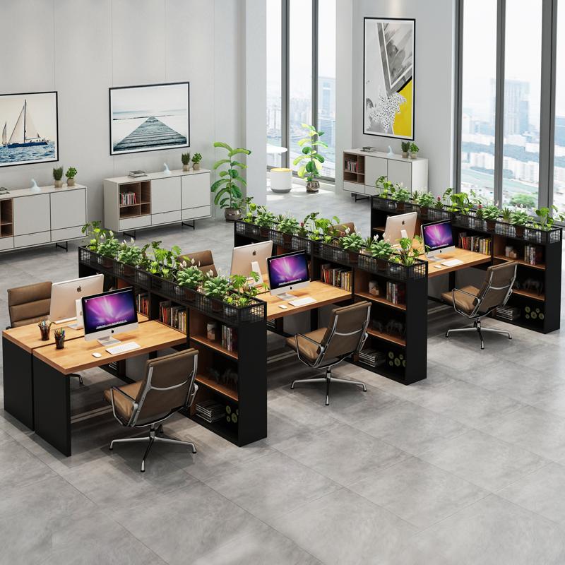 人位员工电脑桌 6 4 工业风实木办公桌椅组合办公室屏风隔断职员桌