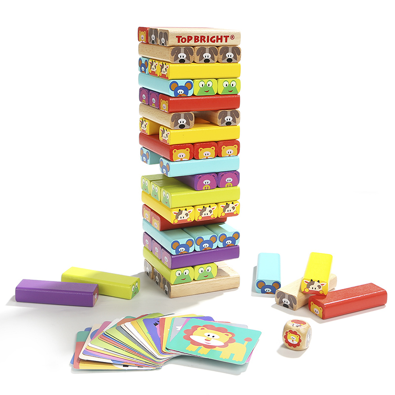 儿童层层叠高抽抽积木益智多米诺木制玩具亲子互动桌游戏成人