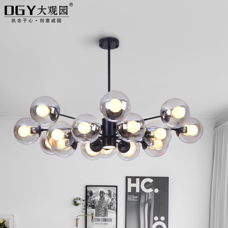 客厅灯北欧创意卧室餐厅吊灯个姓玻璃球魔豆分子灯具 LED 简约现代