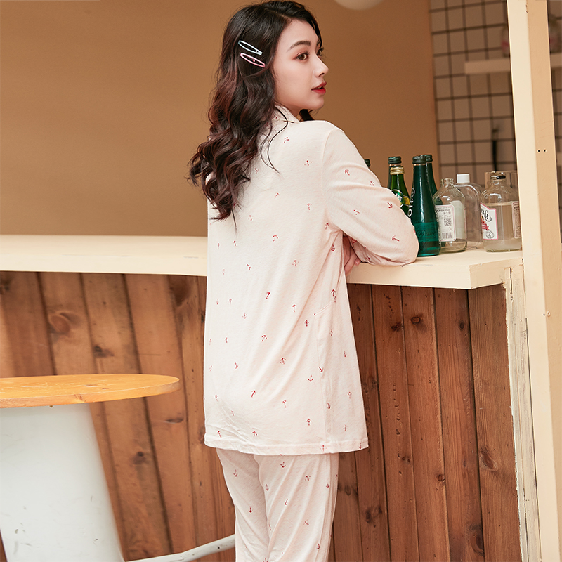 怀泰2020春夏新款孕妇哺乳月子服莫代尔棉薄款喂奶睡衣套装801021