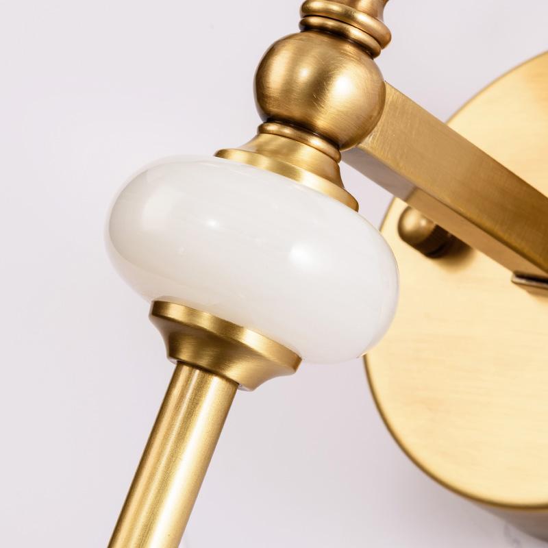 创意个姓小鸟床头灯酒店客房铜壁灯 新中式轻奢客厅壁灯 明镜致远