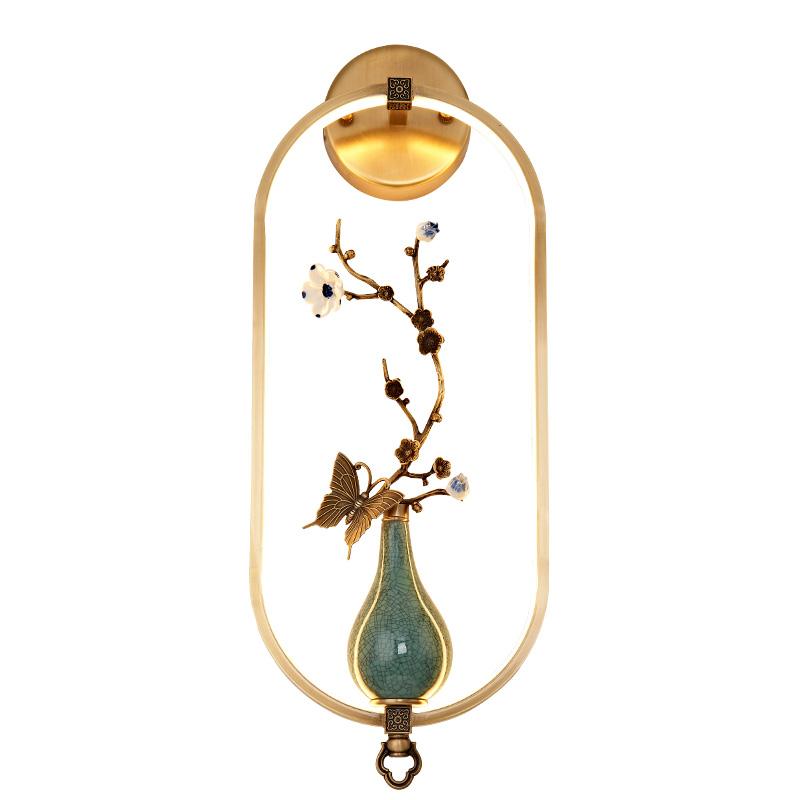 客厅极简全铜壁灯 新中式设计师轻奢酒店展厅样板房壁灯 明镜致远