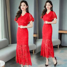 大红色敬酒服连衣裙夏季新款新娘结婚回门衣服修身显瘦晚礼服长裙